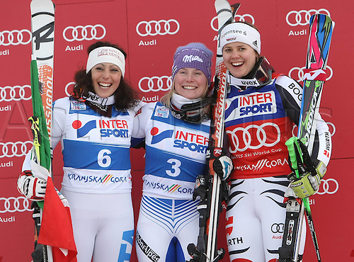 21 01 2012   Kranjska Gora Slovenia Ski Alpine FIS World Cup Giant slalom for women Award Ceremony Picture shows Federica  ITA Tessa Worley FRA and Viktoria Vine castle ger