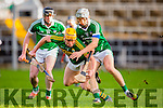 Brendan O'Leary Kerry and David Reidy Limerick fights for the loose ball during their Munster cup clash  in the Gaelic Grounds on Sunday