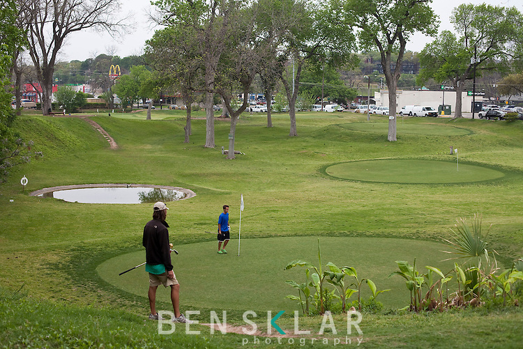 Butler Park hosts b.y.o.b. pitch and putt golf on a 9-hole course year round in Austin, Texas...Ben Sklar for VICE Magazine