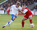 Dean Shiels gets hands on treatment from Brian Allison