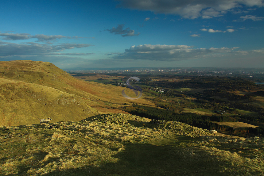 Glasgow and the Campsie Fells from the summit of Dumgoyne, Stirlingshire<br /> <br /> Copyright www.scottishhorizons.co.uk/Keith Fergus 2011 All Rights Reserved