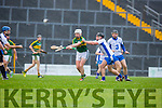 No 29 Kerry (please check with reporter as the programme did not have a 29) controls the ball under pressure from Michael Walsh Waterford during their clash in Fitzgerald Stadium on Saturday