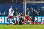 20.01.2018, Volksparkstadion, Hamburg, GER, 1.FBL, Hamburger SV vs 1. FC Koeln<br /> <br /> im Bild<br /> Filip Kostic (Hamburger SV #17) mit Nachschuss, Milos Jojic (Koeln #08), Frederik S&oslash;rensen / Sorensen (Koeln #04), Timo Horn (Koeln #01), <br /> <br /> Foto &copy; nordphoto / Ewert