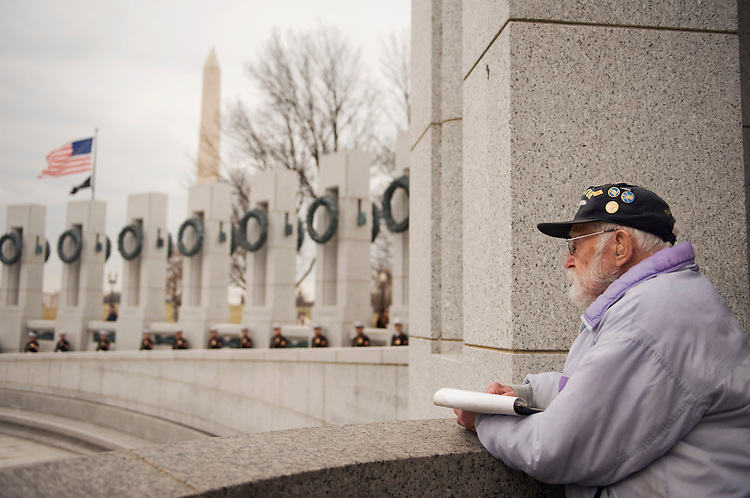 "Navy veteran, Wesley Niccolls, center, 92, of Arlington, watches event to honor WW II vets that served in the Pacific Theater, March 11, 2010.  The event coincided with the upcoming HBO miniseries entitled ""The Pacific."""