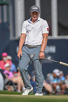 Paul Dunne (IRE) watches his putt on 18 during round 4 of the Houston Open, Golf Club of Houston, Houston, Texas. 4/1/2018.<br /> Picture: Golffile | Ken Murray<br /> <br /> <br /> All photo usage must carry mandatory copyright credit (&copy; Golffile | Ken Murray)