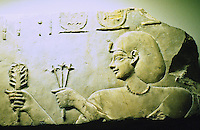 Egypt:  Temple of Ptolemy I.  Right part of limestone relief, 304-282 B.C.  The King, wearing necklace and bag wig offers plants to Goddess Hathor.  Photo '90.