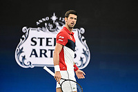 11th January 2020; Sydney Olympic Park Tennis Centre, Sydney, New South Wales, Australia; ATP Cup Australia, Sydney, Day 9; Serbia versus Russia;  Novak Djokovic versus Daniil Medvedev; Novak Djokovic of Serbia reacts after losing a point in his match against Daniil Medvedev of Russia - Editorial Use