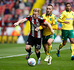 Mark Duffy of Sheffield Utd tackles with Tom Trybull of Norwich City during the Championship match at Bramall Lane Stadium, Sheffield. Picture date 16th September 2017. Picture credit should read: Simon Bellis/Sportimage