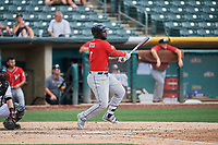 Franmil Reyes (7) of the El Paso Chihuahuas bats against the Salt Lake Bees at Smith's Ballpark on July 8, 2018 in Salt Lake City, Utah. El Paso defeated Salt Lake 15-6. (Stephen Smith/Four Seam Images)