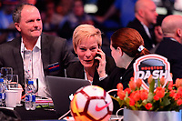 Philadelphia, PA - Thursday January 18, 2018: Vera Pauw during the 2018 NWSL College Draft at the Pennsylvania Convention Center.
