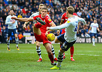 Preston North End's Brad Potts shoots at goal under pressure from Nottingham Forest's Ryan Yates<br /> <br /> Photographer Alex Dodd/CameraSport<br /> <br /> The EFL Sky Bet Championship - Preston North End v Nottingham Forest - Saturday 16th February 2019 - Deepdale Stadium - Preston<br /> <br /> World Copyright © 2019 CameraSport. All rights reserved. 43 Linden Ave. Countesthorpe. Leicester. England. LE8 5PG - Tel: +44 (0) 116 277 4147 - admin@camerasport.com - www.camerasport.com