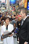 As The World Turns' Colleen Zenk is ordained Universal Life Church minister who officiated the wedding of We Love Roger Newcomb on August 18, 2012 in Times Square, New York City, New York. (Photos by Sue Coflin/Max Photos)
