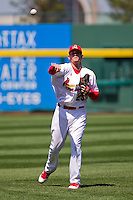 Ryan Jackson (23) of the Springfield Cardinals warms up prior to a game against the Frisco RoughRiders on April 16, 2011 at Hammons Field in Springfield, Missouri.  Photo By David Welker/Four Seam Images