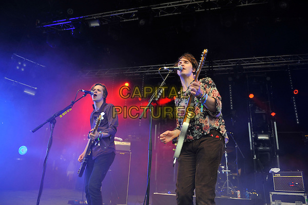 Chilli Jesson and Samuel Fryer of Palma Violets<br /> performing at Glastonbury Festival, Worthy Farm, Pilton, Somerset, <br /> England, UK, 28th June 2013.<br /> half length music gig concert gig live on stage playing guitar microphone singing <br /> CAP/MAR<br /> &copy; Martin Harris/Capital Pictures