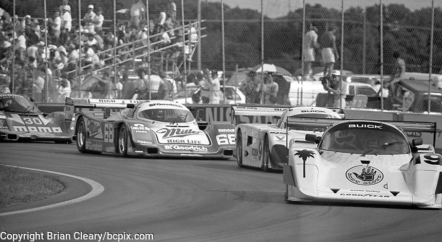 The #19 Spice SE87L Pontiac Firebird of Ken Knott and Rob Wilson leads a pack of cars  during the IMSA GTP/Lights race at the Florida State Fairgrounds on the way to a 19th place finish in Tampa, FL, October 1, 1989. (Photo by Brian Cleary/www.bcpix.com)