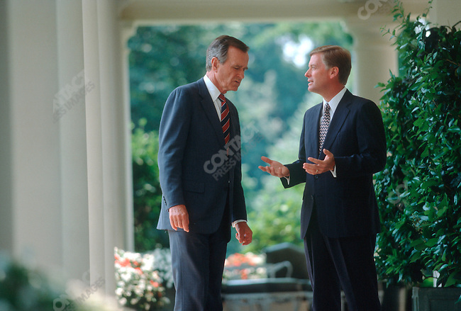 President George H. Bush and Dan Quayle outside the White House.  Washington, D.C. July, 1992
