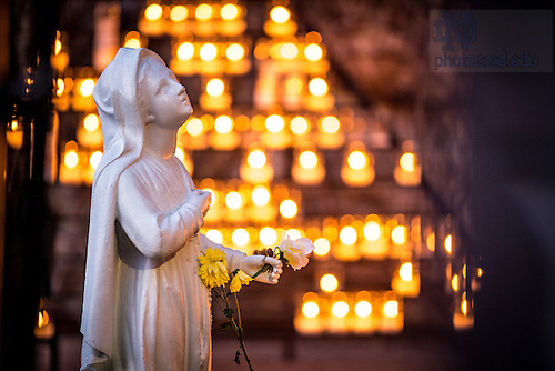 Apr. 17, 2016; St. Bernadette Statue at the Grotto (Photo by Matt Cashore/University of Notre Dame)