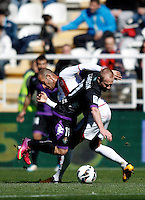 Real Valladolid's Daniel Larsson and Rayo Vallecano's Galvez during La Liga  match. February 24,2013.(ALTERPHOTOS/Alconada)
