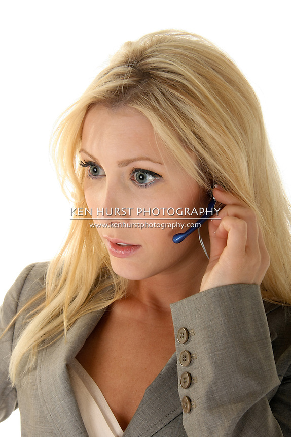 Beautiful blonde woman customer service representive attentively listening to your call.