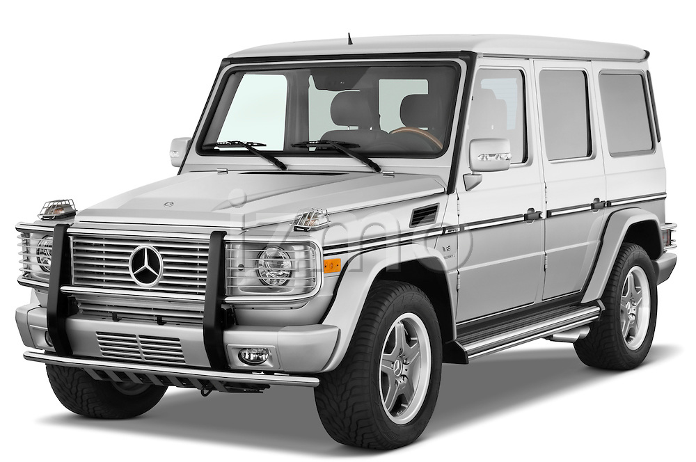 Front three quarter view of a 2008 Mercedes Benz G55 AMG.