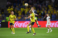 LE HAVRE, FRANCE - JUNE 20: Mallory Pugh #2, Jonna Andersson #2 during a 2019 FIFA Women's World Cup France group F match between the United States and Sweden at Stade Océane on June 20, 2019 in Le Havre, France.