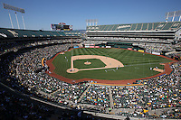 OAKLAND, CA - SEPTEMBER 1:  General overall interior view from the upper deck during the game between the Seattle Mariners and Oakland Athletics at O.co Coliseum on Monday, September 1, 2014 in Oakland, California. Photo by Brad Mangin