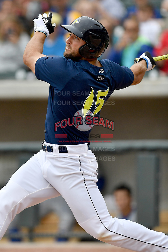 Left fielder Tim Tebow (15) of the Columbia Fireflies bats in a game against the Lexington Legends on Sunday, April 23, 2017, at Spirit Communications Park in Columbia, South Carolina. Lexington won, 4-2. (Tom Priddy/Four Seam Images)