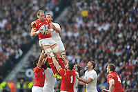 Alun Wyn Jones of Wales outjumps Chris Robshaw of England in the lineout during the RBS 6 Nations match between England and Wales at Twickenham Stadium on Saturday 12th March 2016 (Photo: Rob Munro/Stewart Communications)