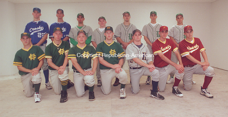 WATERBURY,CT  6/15/98-0615JH02.tif-Members of the All Cety Baseball team pose.  Front row, from left:  Craig Gulick, Mike Maksymiw, Chris Maksymiw, and Mike Regan of Holy Cross; Wayne Violette of Kennedy; Brian Elsemore and Brad Lebel of Sacred Heart.  Back row, from left:  Mike veronneau and Rob Perriello of Crosby; Jay Sharkey, John Harvey, Jed DeLeo, Marc Santiago, and Anthony Tirado of Wilby.  John Harvey PHOTO.