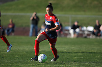 Piscataway, NJ - Sunday April 24, 2016: Defender Ali Krieger (11) of the Washington Spirit dribbles upfield.  The Washington Spirit defeated Sky Blue FC 2-1 during a National Women's Soccer League (NWSL) match at Yurcak Field.