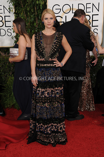 WWW.ACEPIXS.COM<br /> <br /> January 11 2015, LA<br /> <br /> Claire Danes arriving at the 72nd Annual Golden Globe Awards at The Beverly Hilton Hotel on January 11, 2015 in Beverly Hills, California. <br /> <br /> <br /> By Line: Peter West/ACE Pictures<br /> <br /> <br /> ACE Pictures, Inc.<br /> tel: 646 769 0430<br /> Email: info@acepixs.com<br /> www.acepixs.com