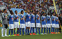 IBAGUE -COLOMBIA, 9-NOVIEMBRE-2014. Formacion de Millonarios frente al Deportes Tolima durante cuadrangulares finales de La Liga Postobon  Partido por la fecha 18 de la Liga Postobón 2014- II  jugado en el estadio Manuel  Murillo Toro de la ciudad de Ibague./  Team  of Millonarios against Deportes  Tolima  the final runs of La Liga Postobon and be his last performance for 2014. Party date 18th  2014 Postobón League II  against Tolima played  Manuel Murillo Toro stadium in Ibague city.Photo / VizzorImage / Andrew Indell / Staff
