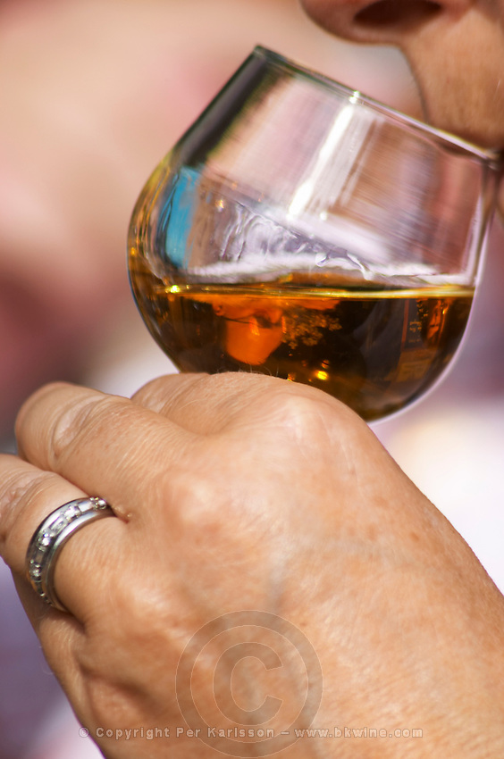A woman's hand with a ring holding a snifter glass with golden liquid - Chateau Mont Redon Vieux Marc de Chateauneuf, eau de vie de marc des cotes du Rhone. Spirit made from chateauneuf wine press residues. The restaurant Le Verger de Papes Chateauneuf-du-Pape Vaucluse, Provence, France, Europe