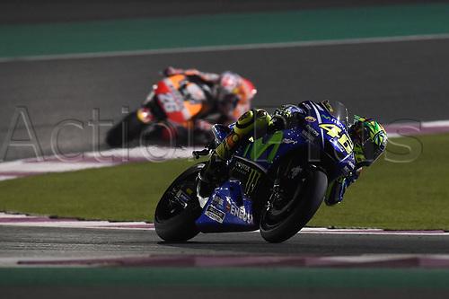 March 26th 2017, Doha, Qatar; MotoGP Grand Prix Qatar; Valentino Rossi (movistar Yamaha) on his way to recover a 3rd placed finish