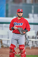 Jeans Flores (13) of the Orem Owlz before the game against the Ogden Raptors at Lindquist Field on June 20, 2019 in Ogden, Utah. The Owlz defeated the Raptors 11-8. (Stephen Smith/Four Seam Images)