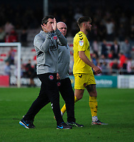 Fleetwood Town manager Joey Barton applauds the fans at the final whistle<br /> <br /> Photographer Andrew Vaughan/CameraSport<br /> <br /> The EFL Sky Bet League One - Lincoln City v Fleetwood Town - Saturday 31st August 2019 - Sincil Bank - Lincoln<br /> <br /> World Copyright © 2019 CameraSport. All rights reserved. 43 Linden Ave. Countesthorpe. Leicester. England. LE8 5PG - Tel: +44 (0) 116 277 4147 - admin@camerasport.com - www.camerasport.com