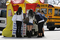 Toronto (ON) CANADA,  April , 2008-..A group of students stop at a hot dog stand during their visit of the.Royal Ontario Museum...The Royal Ontario Museum, commonly known as the ROM, is a major museum for world culture and natural history in the city of Toronto, Ontario, Canada. The ROM is the fifth largest museum in North America, containing more than six million items and over 40 galleries. It is also the largest museum in Canada. It has notable collections of dinosaurs, Near Eastern and African art, East Asian art, European history, and Canadian history. It has also hosted many travelling exhibits...The museum is located at the corner of Bloor Street and Avenue Road, north of Queen's Park ..