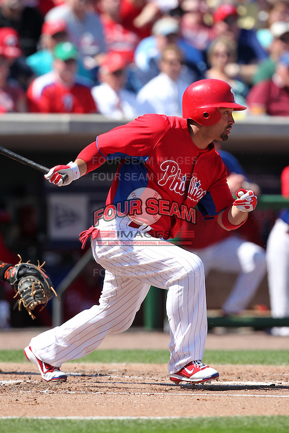 Philadelphia Phillies Shane Victorino #8 during a spring training game against the Baltimore Orioles at Bright House Field in Clearwater, Florida;  March 8, 2011.  Photo By Mike Janes/Four Seam Images