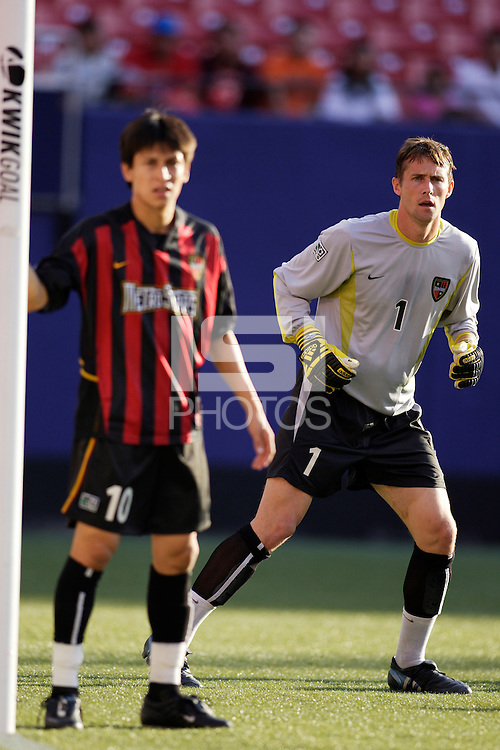 The MetroStars' goalkeeper Jonny Walker and Joselito Vaca await a corner kick. The NY/NJ MetroStars defeated the LA Galaxy 3 to 0 during MLS action at Giant's Stadium, East Rutherford, NJ, on August 8, 2004.