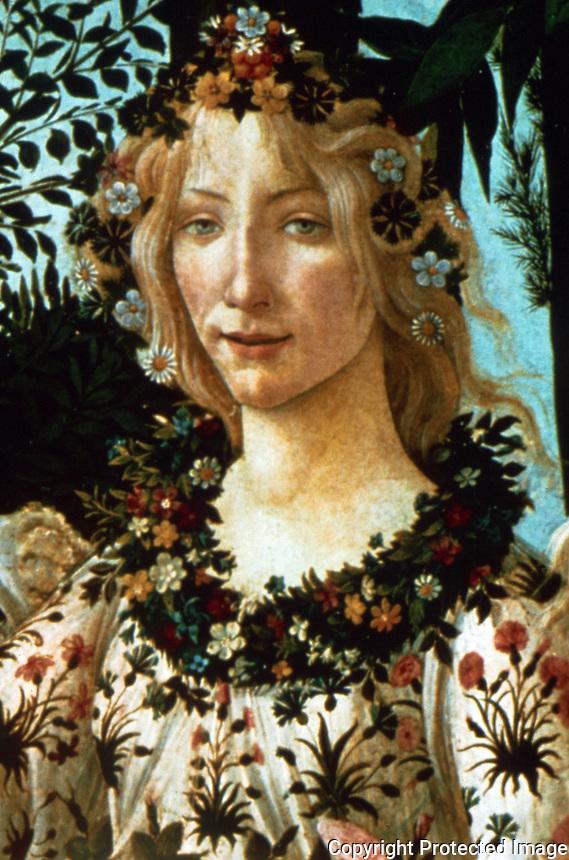 Renaissance Art:  Botticelli--La Primavera.  Galleria Uffizi.