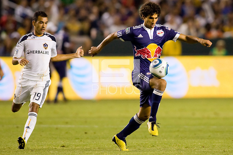 Midfielder Mehdi Ballouchy of the New York Red Bulls moves towards the goal. The New York Red Bulls beat the LA Galaxy 2-0 at Home Depot Center stadium in Carson, California on Friday September 24, 2010.