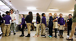 WATERBURY CT. 12 December 2018-121218SV24-Student lineup for lunch in the lunchroom at Brass City Charter School in the former St. Margaret's of Scotland Church in Waterbury Wednesday.<br /> Steven Valenti Republican-American