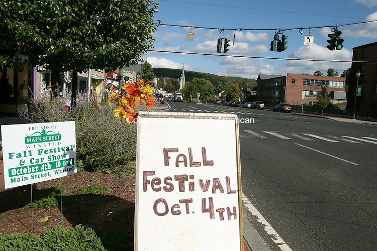 WINSTED, CT - 2 October, 2008 - 100208MO02 - Winsted is gearing up to welcome a crowd of thousands Saturday for the 11th annual Fall Festival & Car Show. The westbound lanes of Main Street (Rt. 44) seen here will be closed during the festival, with westbound traffic temporarily diverted to an eastbound lane. Jim Moore Republican-American.