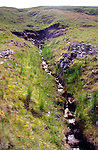 Headward erosion at source of small tributary River Tyne south, north Pennines, England