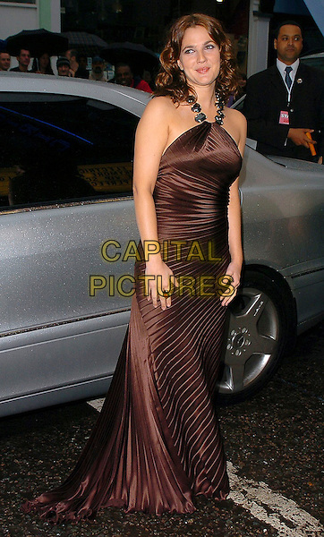 "DREW BARRYMORE.""The Perfect Catch"" (formerly ""Fever Pitch"")- VIP screening at The Electric Cinema, London, W10..July 27th, 2005.full length brown silk satin dress pleated halterneck ring.www.capitalpictures.com.sales@capitalpictures.com.©Capital Pictures"