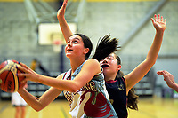 Action from the 2019 Schick AA Girls' Secondary Schools Basketball Premiership National Championship match between Westlake Girls' High School and Baradene College at the Central Energy Trust Arena in Palmerston North, New Zealand on Monday, 30 September 2019. Photo: Dave Lintott / lintottphoto.co.nz