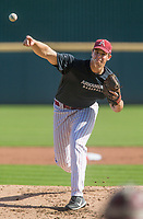 Hawgs Illustrated/BEN GOFF <br /> Jackson Rutledge pitches for gray team Wednesday, Oct. 11, 2017, during the Arkansas baseball Fall World Series scrimmage at Baum Stadium in Fayetteville.