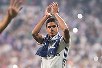 Real Madrid Raphael Varane during the celebration of the 12th UEFA Championship won by Real Madrid  at Santiago Bernabeu Stadium in Madrid, June 04, 2017. Spain.<br /> Foto ALTERPHOTOS/BorjaB.Hojas/Insidefoto