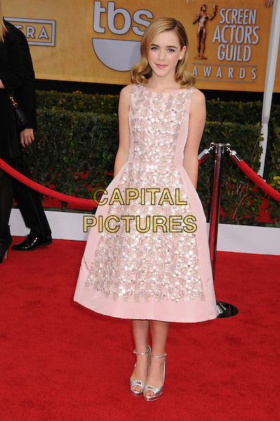 Kiernan Shipka.Arrivals at the 19th Annual Screen Actors Guild Awards at the Shrine Auditorium in Los Angeles, California, USA..27th January 2013.SAG SAGs full length white dress sleeveless lace pink.CAP/ADM/BP.©Byron Purvis/AdMedia/Capital Pictures