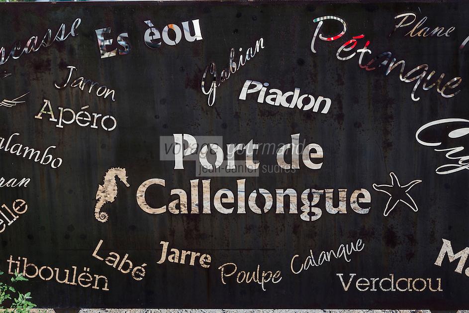 France, Bouches-du-Rhône (13), Marseille, capitale européenne de la culture 2013, Callelongue (Parc National des Calanques depuis le 18/04/2012)  , détail portail // France, Bouches du Rhone, Marseille, european capital of culture 2013, Callelongue (Calanques National Park since 2012/04/18)